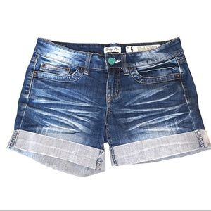 Indigo Rein Forever Distressed Faded Jean Shorts